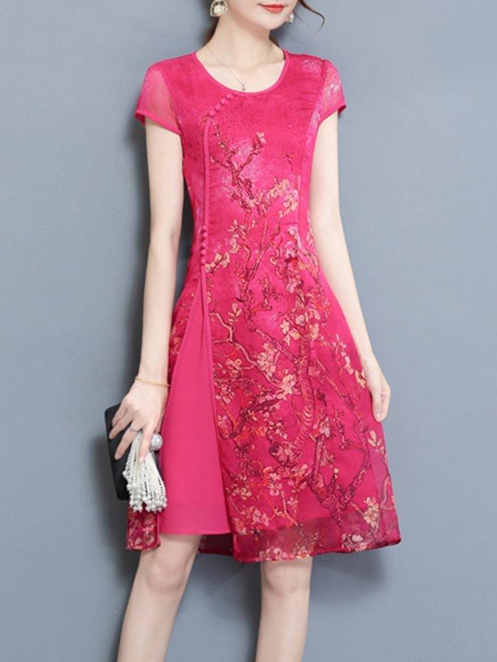 Paneled Vintage Floral Printed Short Sleeve Plus Size Dress