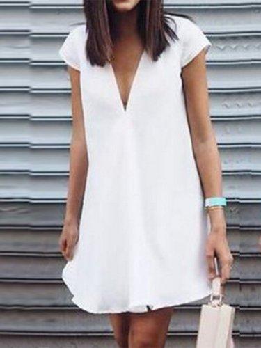 Women V-Neck  Plain Shift Dress
