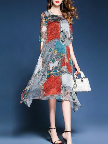 Asymmetric Neck  Printed Maxi Polyester Dress
