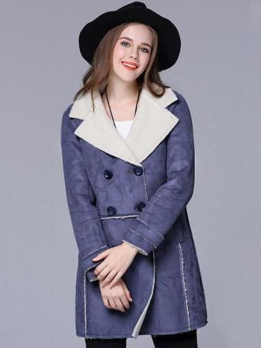 OVER SIZE Winter Suede Lambs Wool Female Coat