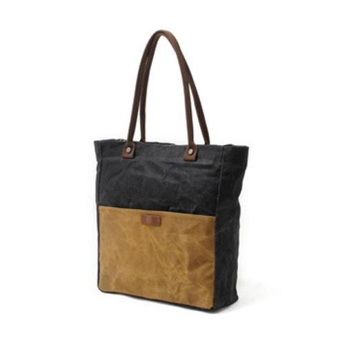 Canvas Splicing Black Handbag Shoulder Bags