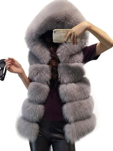 Women's High-Grade Faux Fur Coat Vest Jacket