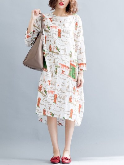 Long Sleeve Casual Linen Printed Dress