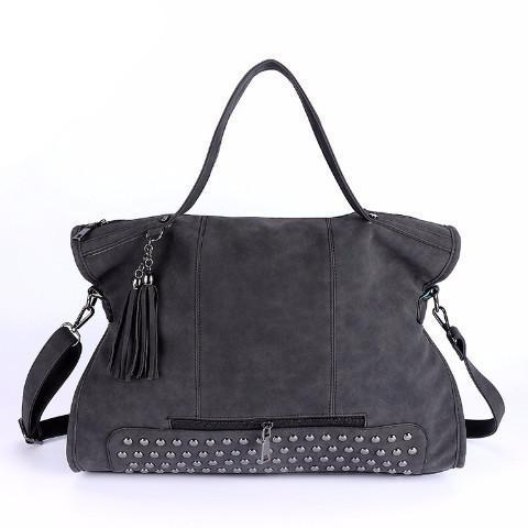 Elegant Rivet Nubuck Leather Tassel  Vintage Shoulder Bag