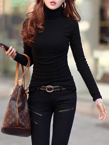 Fleece-lined Casual Sheath T-Shirt