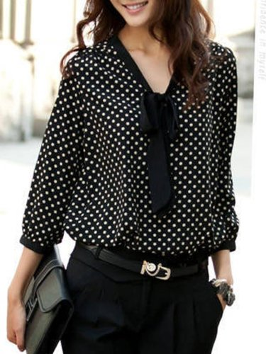 New  Chiffon  Women  Tie Collar  Polka Dot  Long Sleeve Blouses