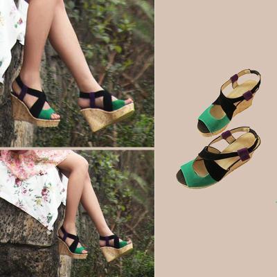 Plus Size Wedge Heel Shoes Women Elastic Band Sandals