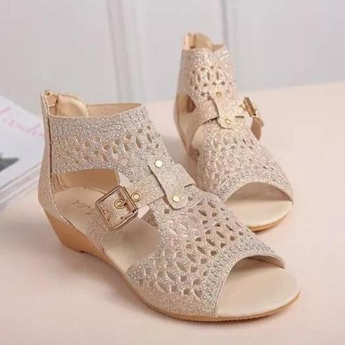 Rhinestone Zipper Women's Sandals
