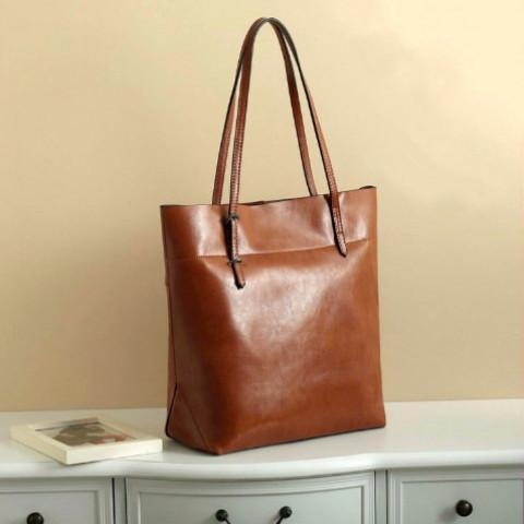 Retro Genuine Leather Oils Wax Woman Handbag