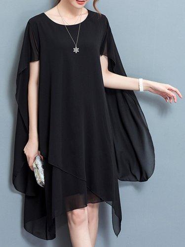 Elegant Cape Sleeve Asymmetrical Plus Size Dress