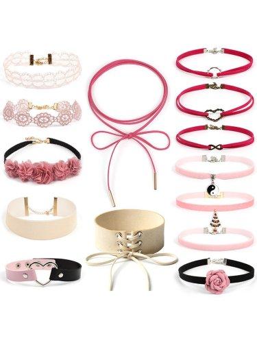 Sweet Velvet Adjustable Choker Necklace Sets