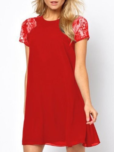 Woman Round Neck  Patchwork  Plain Skater Dress
