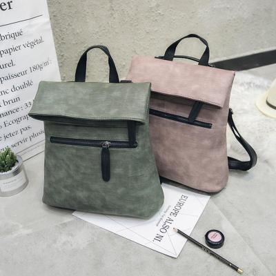 Womens PU Zipper Casual Backpack Shoulder Bags