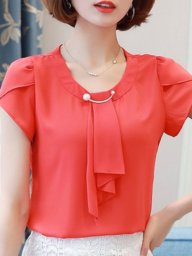 Solid Short Sleeve Beaded Tie-neck Plus Size Blouse