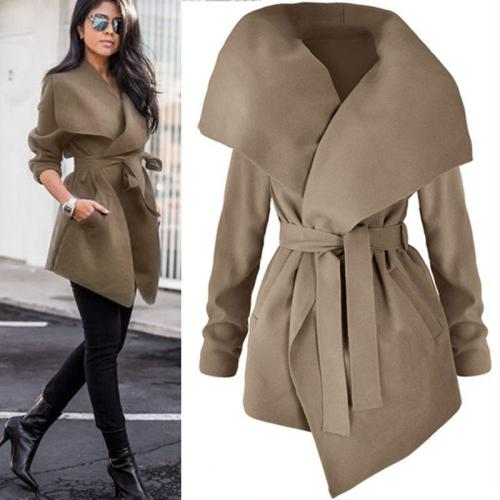 Women Woolen Coat With Belt
