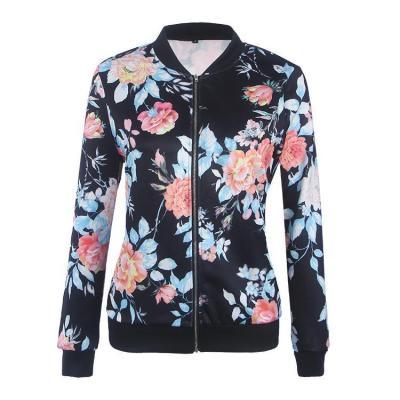 Women's Band Collar Floral Printed Bomber Zipper Jacket Outwear