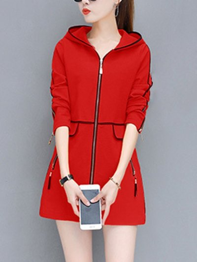 Hooded  Contrast Trim Zips Pocket Coat