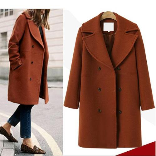 Women's Long Wool Coat Windbreaker Woolen Jacket Coat