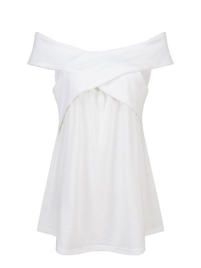 White Off Shoulder Solid Casual Blouses