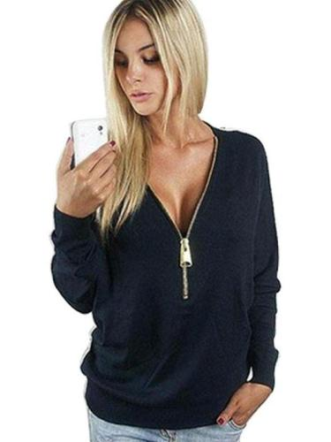 V-Neck Zip Up Top