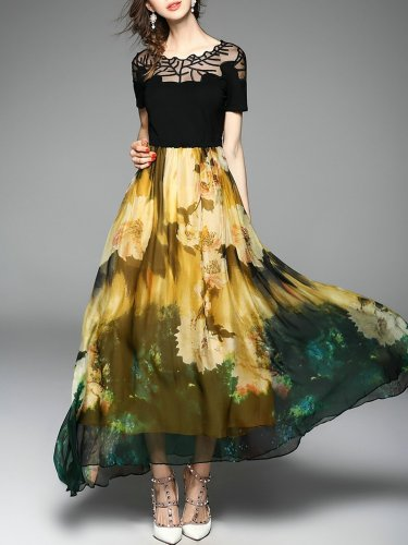 Yellow Floral Printed Chiffon Casual Maxi Dress
