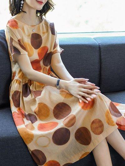 Multicolor A-line Printed Casual Short Sleeve Midi Dress