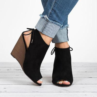 Large Size Lace-up Peep Toe Wedges Boots