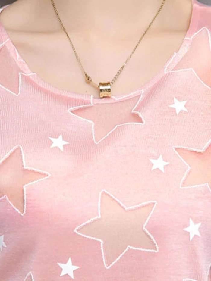 Star Panled Crew Neck Short Sleeve Plus Size Blouses