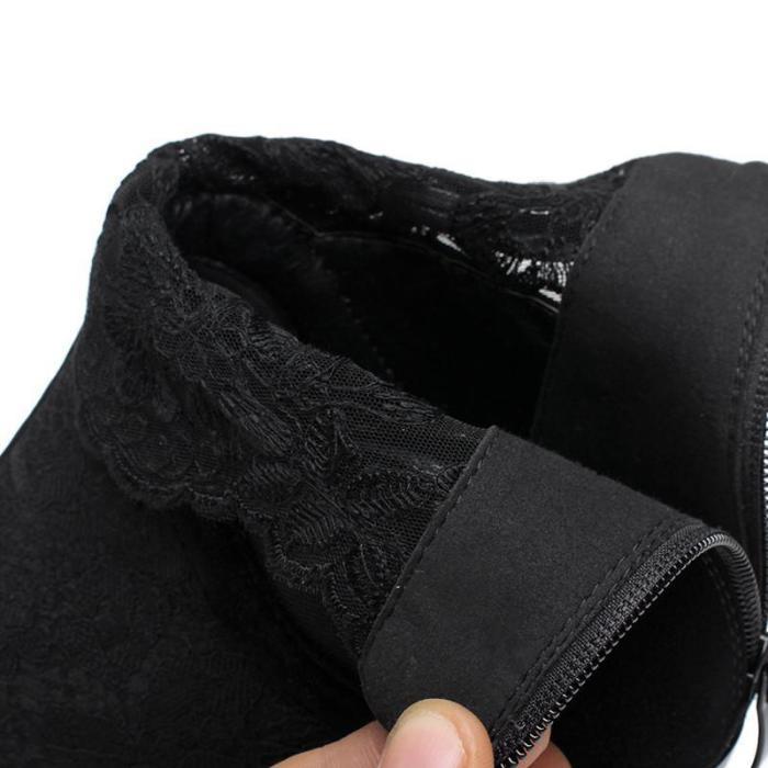 Black Genuine Leather Fashion Martin Boots Medium Heels
