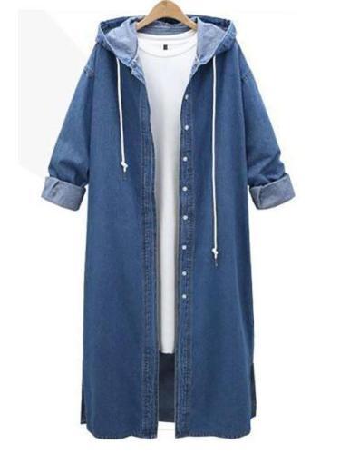 Casual Loose Overknee Plain Denim Outwear