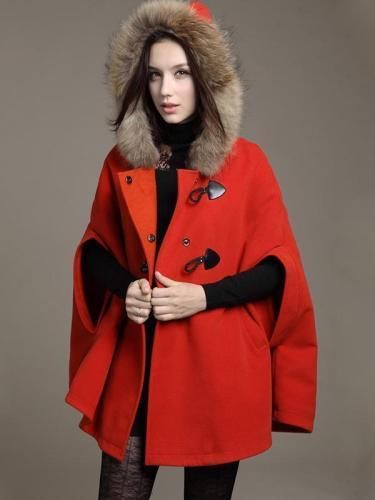 Hooded Fur Poncho Wool Coat  Loose Poncho Outwear