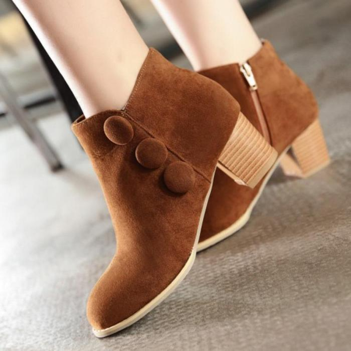 Women Flock Round Toe Style Plus Size Booties