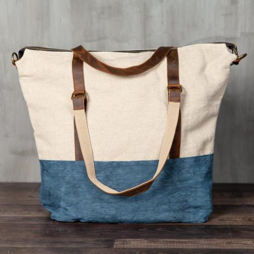 Canvas Large Capacity Splicing Shoulder Bag