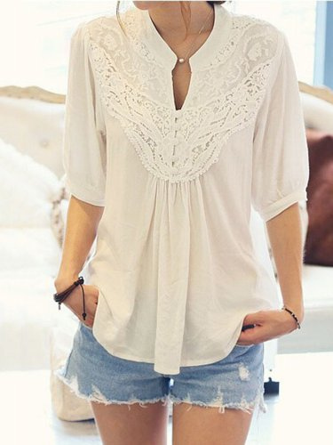 Stand Collar Lace Paneled Short Sleeve Chiffon T-Shirt
