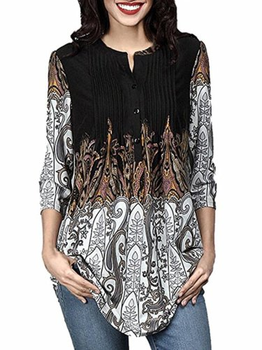 New Crew Neck  Decorative Buttons   Floral Printed Loose Tunic Long Blouses
