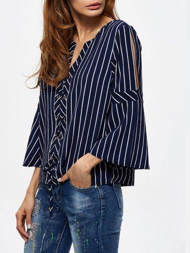 Stripe Flare Sleeve Lace-Up V-Neck Blouse
