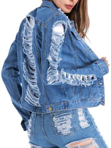 Fashion Loose Plain Ripped Denim Outwear