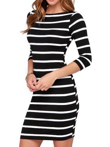 New Round Neck  Striped  Blend Bodycon Dress