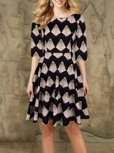 Woman Round Neck  Printed Skater Dress