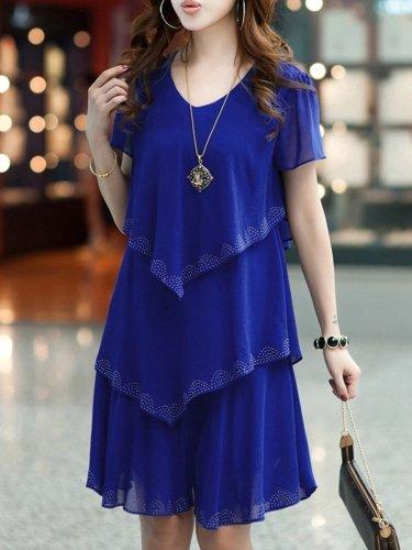 Fashion Multi-Layers Rhinestone Designed V Neck Chiffon Shift Dress