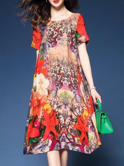 Plus Size Floral Printed Pockets A-line Dress