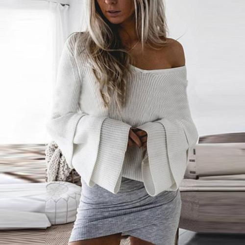 V  Neck   Plain  Polyester  Casual  Sweaters