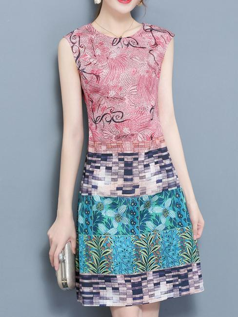 Crew Neck Printed Sleeveless Elegant Dress