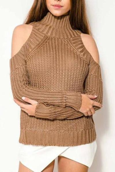 High Crew Collar Long Sleeves Hemline Sweater