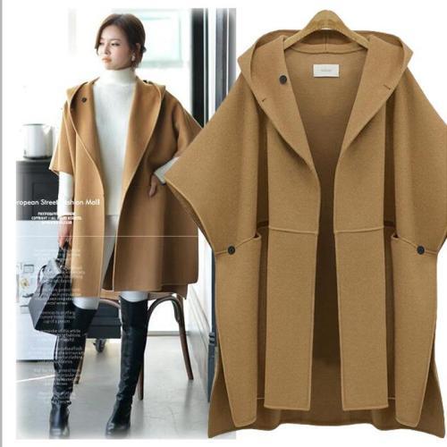 Elegant Retro Cloak Woolen  Wool Coat Thick Overcoat