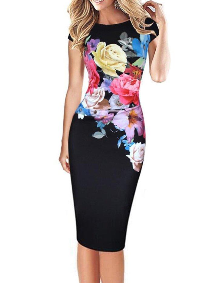 Floral Crew Neck Bodycon Elegant Plus Size Party Dress