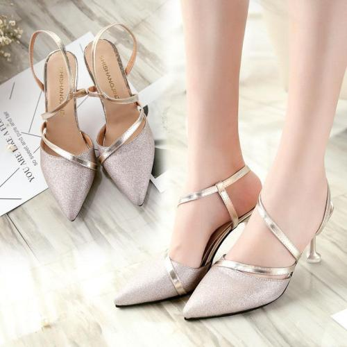 Elegant Sequins Pure Color Slim High Heel Woman Sandals