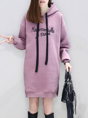 Hooded  Side Slit Slit Pocket  Embroidery Letters Hoodies