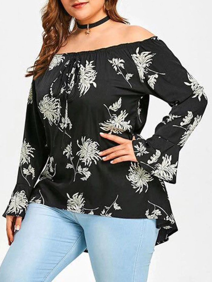 Floral Printed Frill Sleeve Off Shoulder Casual Plus Size Blouse