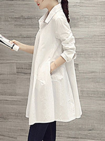 Fashion Button Down Collar  Single Breasted  Plain Blouses